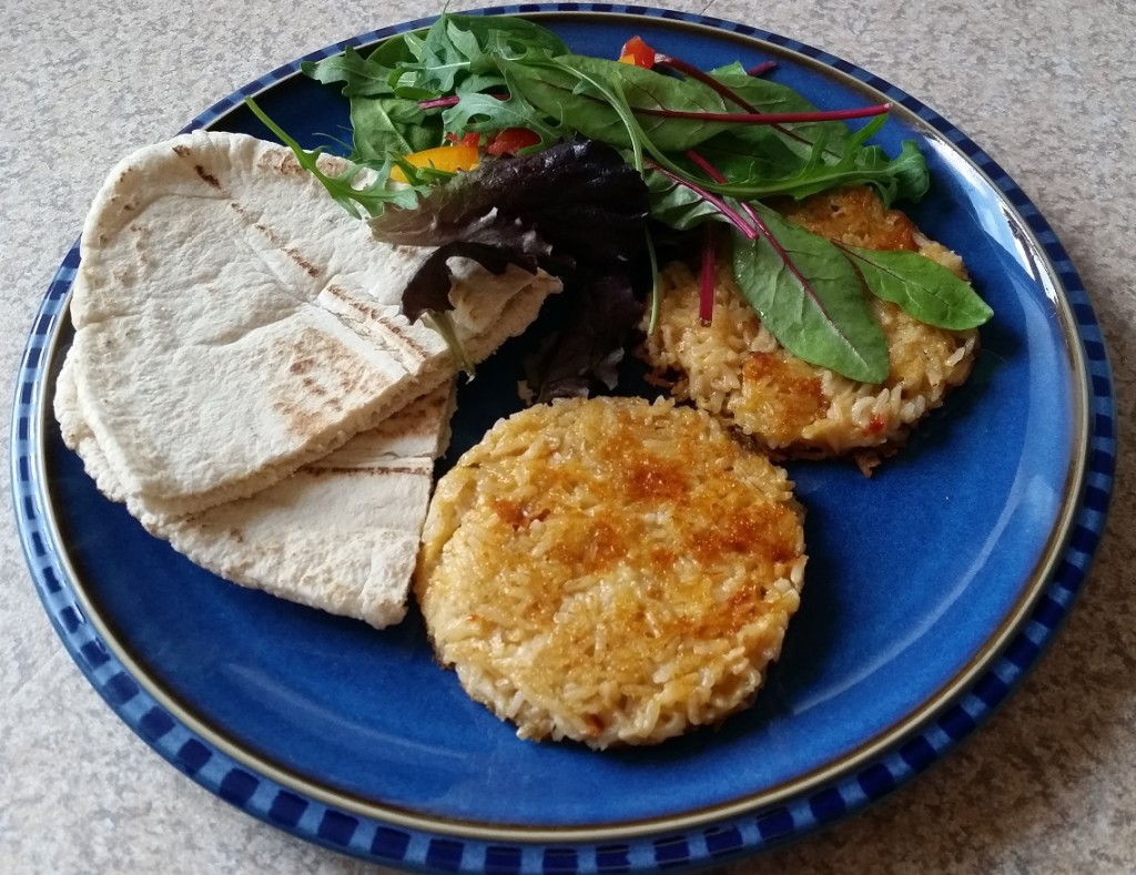 Cheese and rice burgers