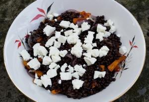 Roast carrot, feta and puy lentil salad