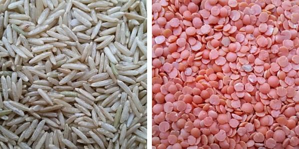 Brown basmati rice and red lentils