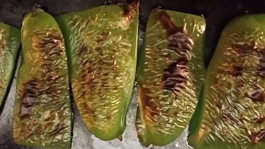 Roasting the green pepper