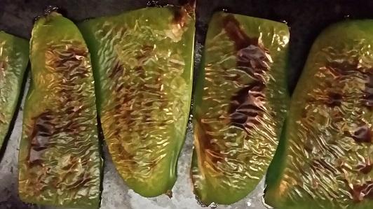Roasting the green pepper