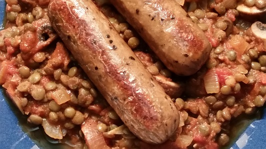 Puy lentil and mushroom sauce with sausages