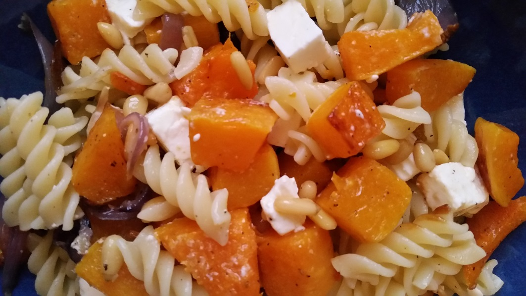 Feta and roasted butternut squash pasta