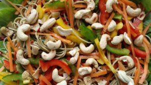 Asian noodle salad with edamame spaghetti