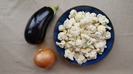Ingredients for cauliflower and aubergine quinoa