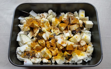 Roasting cauliflower, aubergine and quinoa
