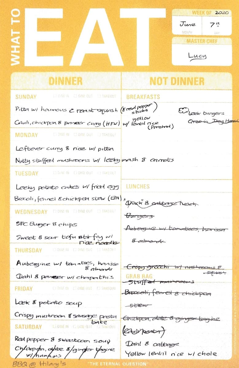 Meal plan for week beginning 07/06/2020